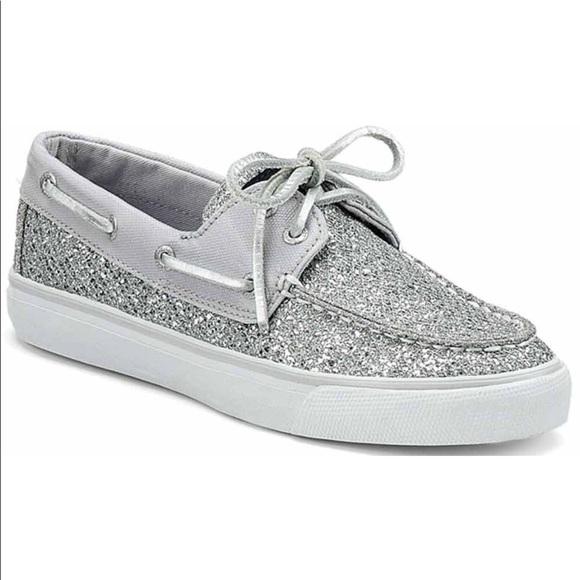 Sperry Shoes Topsider Silver Glittergrey Canvas Poshmark